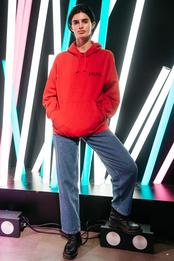 Саша Паника в толстовке Premier Amour на вечеринке adidas creative party в «Цветном»