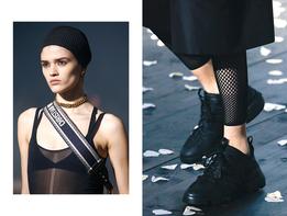 Золотые цепи и огромные брутальные кроссовки на шоу Christian Dior