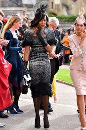 Наоми Кэмпбелл в Ralph & Russo на свадьбе принцессы Евгении и Джека Бруксбэнка в Виндзорском замке