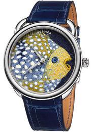Мозаичная рыба на циферблате часов Hermes