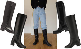 Черные сапоги на устойчивом каблуке обязательно должны быть у каждой модницы